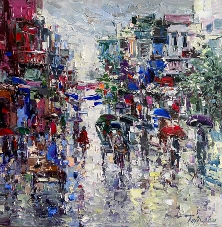 Cityscape Acrylic Art Painting title Untitled 4 by artist Tejinder Kanda