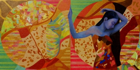 Figurative Acrylic-oil Art Painting title 'Our Wings Our Dreams' by artist Shubhra Das