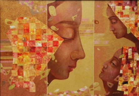 Figurative Oil Art Painting title 'Serenity 1' by artist Shubhra Das