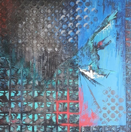 contemporary Mixed-media Art Painting title 'Aafaaq' by artist Radhika Seksaria
