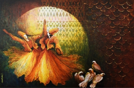 contemporary Mixed-media Art Painting title 'Aftab' by artist Radhika Seksaria
