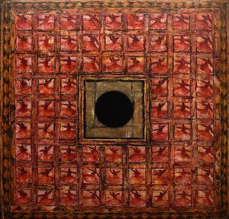 Abstract Mixed-media Art Painting title 'Azal' by artist Radhika Seksaria