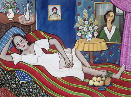 Figurative Mixed-media Art Painting title 'Pleasurable Pass Time' by artist Nayanaa Kanodia