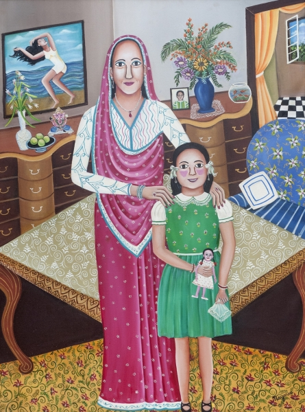 Figurative Oil Art Painting title 'The Flight Of The Girl Child' by artist Nayanaa Kanodia