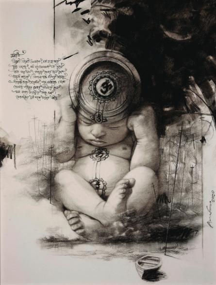 Figurative Mixed-media Art Drawing title 'Avatara' by artist Arindam Gupta