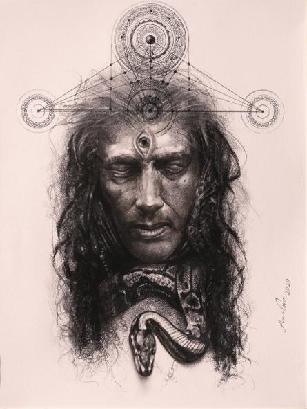 Religious Mixed-media Art Drawing title 'Veeravhadra' by artist Arindam Gupta