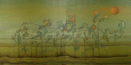 contemporary Acrylic Art Painting title 'Burning Desire 4 ( Diptych )' by artist Vaishnavi Naik