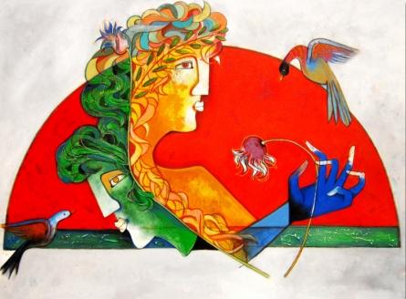Figurative Acrylic Art Painting title 'Couple' by artist Rajesh Choudhari