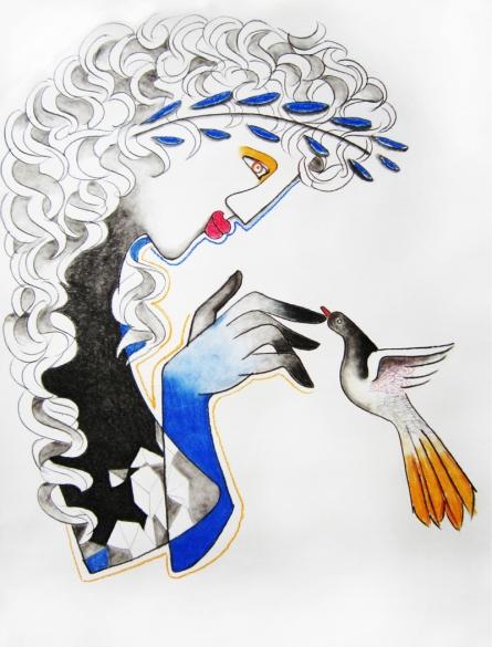 Figurative Mixed-media Art Drawing title 'Untitled 1' by artist Rajesh Choudhari