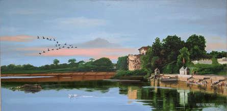 Cityscape Oil Art Painting title 'Samantasar Lake' by artist Parimal Vaghela