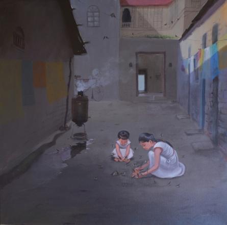 contemporary Acrylic Art Painting title 'Sharing' by artist Mayur Heganekar