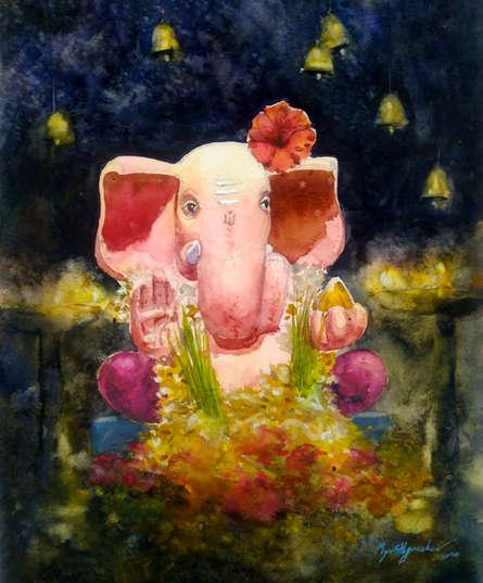 Religious Watercolor Art Painting title 'Gajanana' by artist Mayur Heganekar