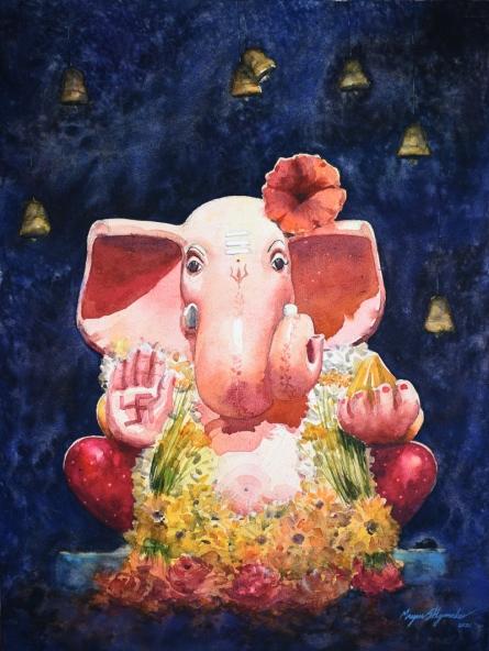 Religious Watercolor Art Painting title 'Shree' by artist Mayur Heganekar