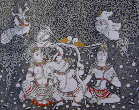 Religious Mixed-media Art Drawing title 'Untitled 2' by artist Dalip Chandolia