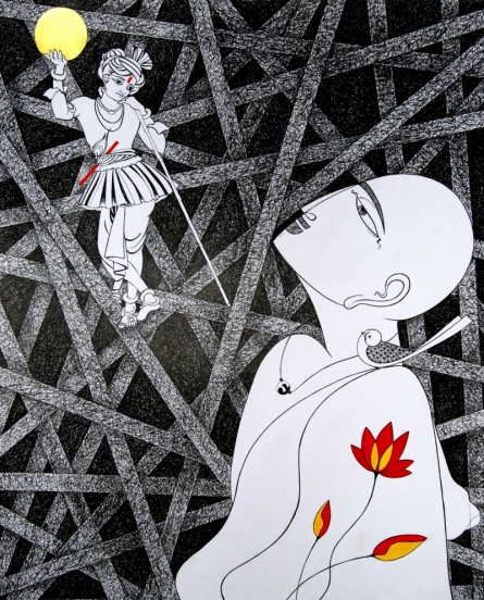 Religious Mixed-media Art Drawing title 'Untitled 3' by artist Dalip Chandolia