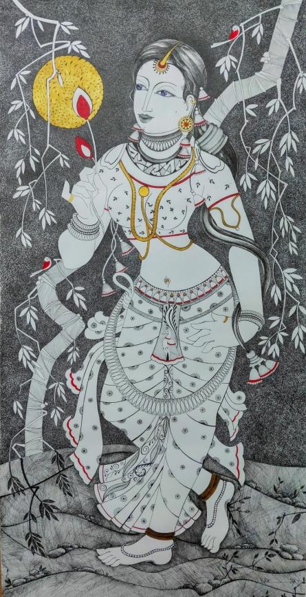 Figurative Mixed-media Art Drawing title 'Untitled 7' by artist Dalip Chandolia
