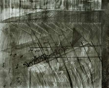 Abstract Mixed-media Art Drawing title 'Work Done Is Zero 5' by artist Apurba Salui