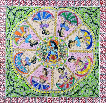 Traditional Indian art title Krishna Rasleela on Paper - Madhubani Paintings