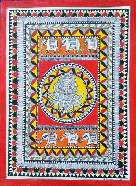 Traditional Indian art title Lord Ganesha on Handmade Paper - Madhubani Paintings