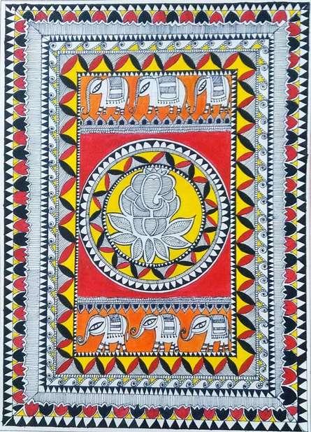 Traditional Indian art title Lord Ganesha on Handmade Paper - Madhubani Paintings