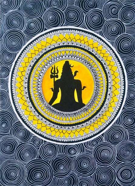 Traditional Indian art title Lord Shiva on Handmade Paper - Madhubani Paintings
