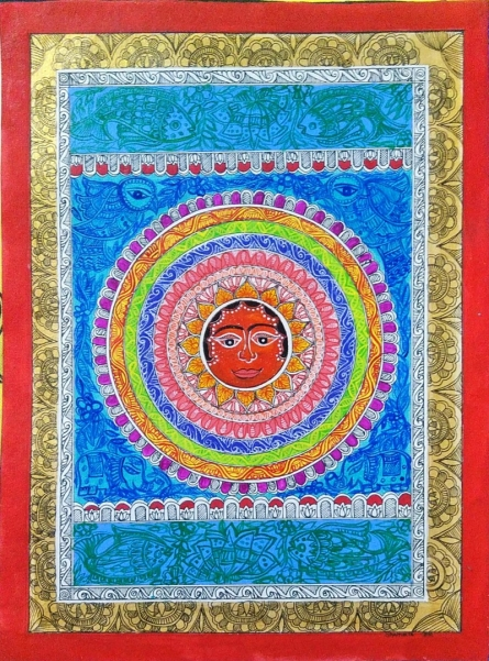 Traditional Indian art title Lord Surya on Handmade Paper - Madhubani Paintings