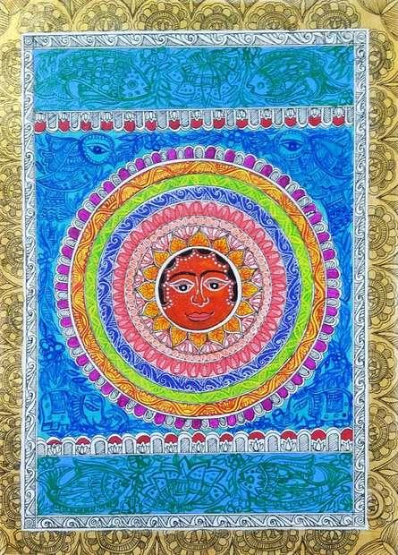 Traditional Indian art title Lord Surya on Handmade Paper - Madhubani Paintings