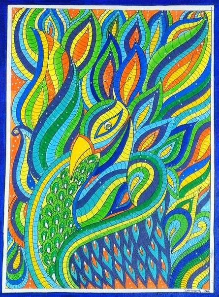 Traditional Indian art title Peacock on Handmade Paper - Madhubani Paintings