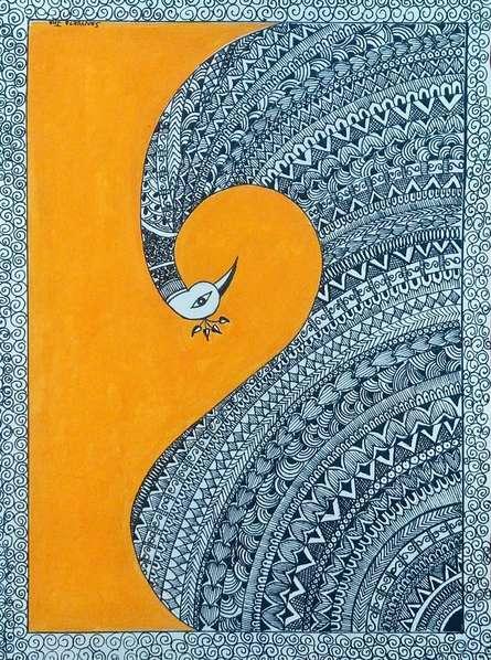 Traditional Indian art title Peacock 1 on Handmade Paper - Madhubani Paintings