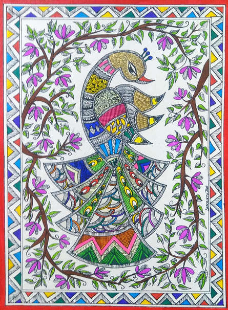 Traditional Indian art title Peacock 2 on Paper - Madhubani Paintings