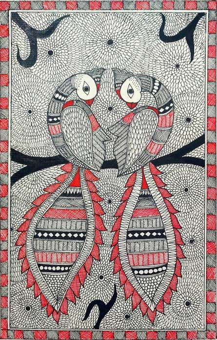 Traditional Indian art title Peacock on Paper - Madhubani Paintings