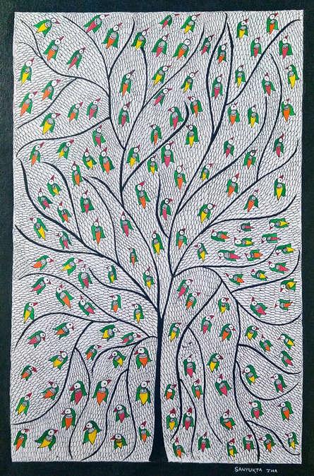 Traditional Indian art title Tree Of Life on Handmade Paper - Madhubani Paintings