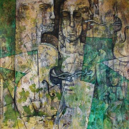 Music Of Silence 1 | Painting by artist Rupchand Kundu | acrylic | Canvas