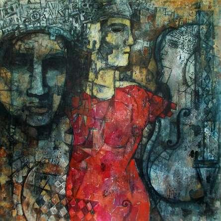 Figurative Acrylic Art Painting title 'Music Of Silence 2' by artist Rupchand Kundu