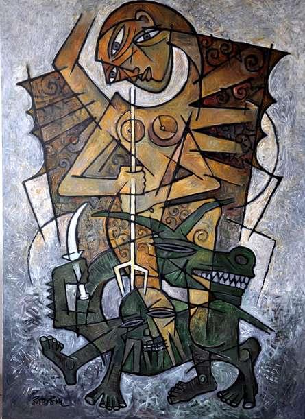 Durga 1 | Painting by artist Rupchand Kundu | acrylic | Canvas