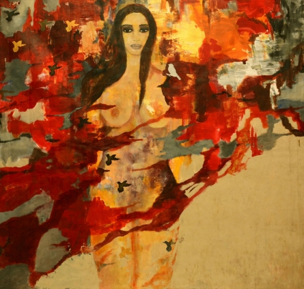 Nude Acrylic Art Painting title 'Untitled 2' by artist Sunayana Malhotra