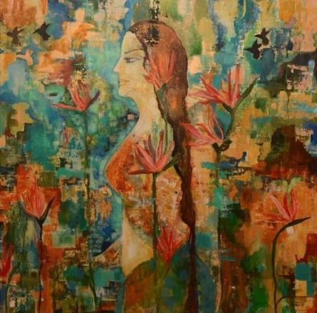 Nude Acrylic Art Painting title Untitled 3 by artist Sunayana Malhotra