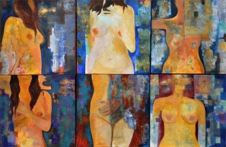 Nude Acrylic Art Painting title 'Untitled 4' by artist Sunayana Malhotra