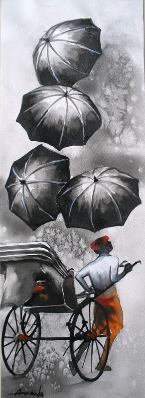 Monsoon II | Painting by artist Ananda Das | watercolor | Paper