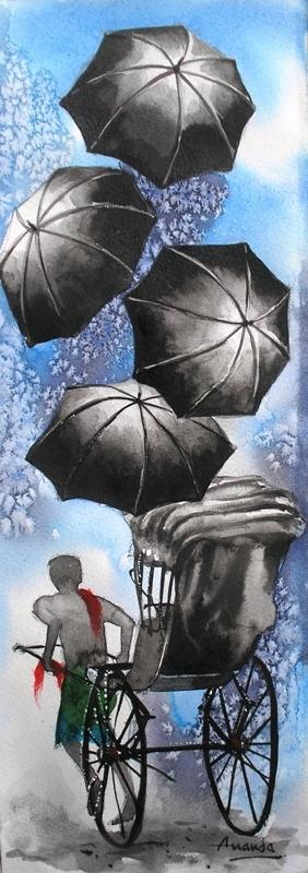 Monsoon III | Painting by artist Ananda Das | watercolor | Paper