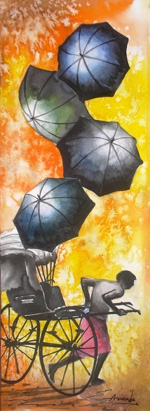 Cityscape Watercolor Art Painting title 'Monsoon V' by artist Ananda Das