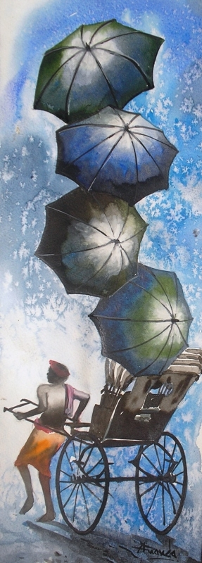 Monsoon VI | Painting by artist Ananda Das | watercolor | Paper