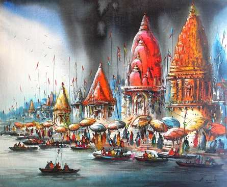 Cityscape Acrylic Art Painting title 'Banaras Ghat II' by artist Ananda Das