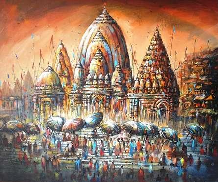 Cityscape Acrylic Art Painting title 'Banaras Ghat III' by artist Ananda Das