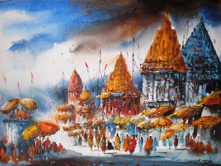 Cityscape Acrylic Art Painting title Banaras Ghat IV by artist Ananda Das