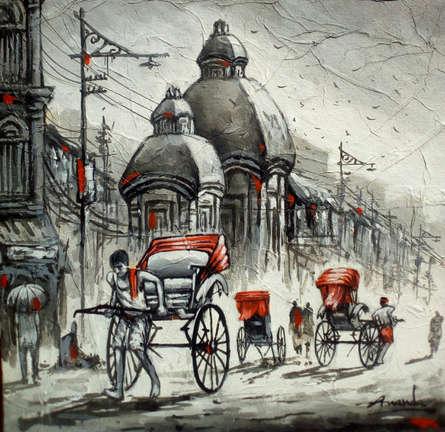 Cityscape Acrylic Art Painting title 'Busy Kolkata' by artist Ananda Das