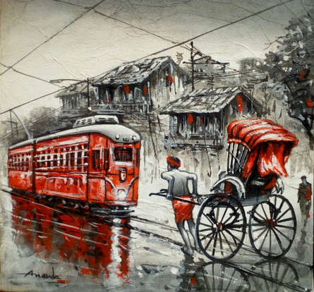 Cityscape Acrylic Art Painting title 'City Of Kolkata' by artist Ananda Das