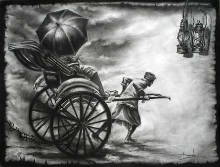 Charcoal Paintings | Drawing title Light on Paper | Artist Ananda Das