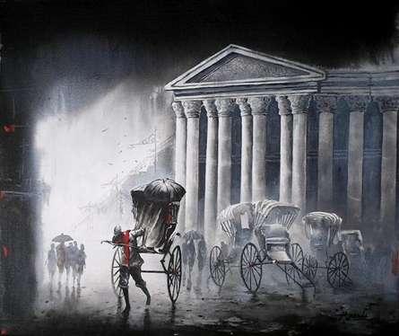 Cityscape Acrylic Art Painting title 'Kolkata2' by artist Ananda Das
