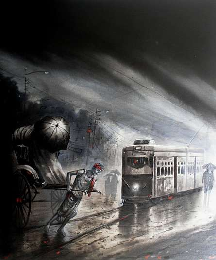 Kolkata III | Painting by artist Ananda Das | acrylic | Canvas